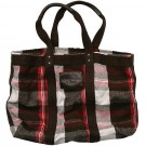 Abercrombie & Fitch Red Grey White Plaid Tote Bags